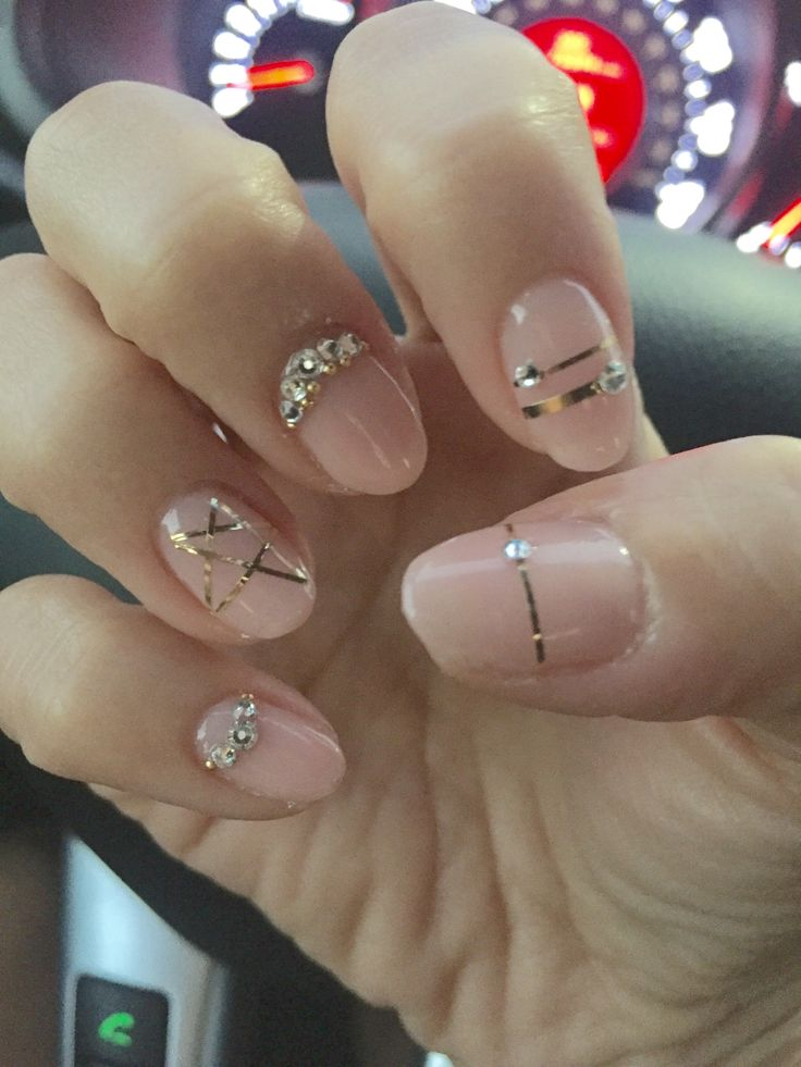 34 best my nails images on pinterest gel nail designs nails gel design nude pink nails with rose gold tape swarovski crystals and a prinsesfo Choice Image