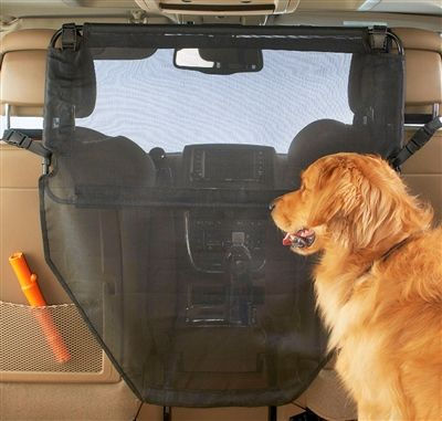 The Wag'nRide dog car barrier from High Road Car Organizers is made using a full, coated mesh, see-through fabric that allows back seat dogs and pets to have a full view of the car front seat, keeping them safely located in the car back seat.