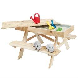 Outdoor Life Kinderpicknicktafel met zandbak - Zand & Watertafel - Outdoor Life - fonQ.nl