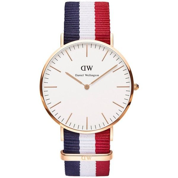 Daniel Wellington Men's Classic Cambridge Rose Gold and NATO Strap... ($195) ❤ liked on Polyvore featuring men's fashion, men's jewelry, men's watches, multi colored, colorful mens watches, mens blue dial watches, mens diamond bezel watches and mens watches jewelry