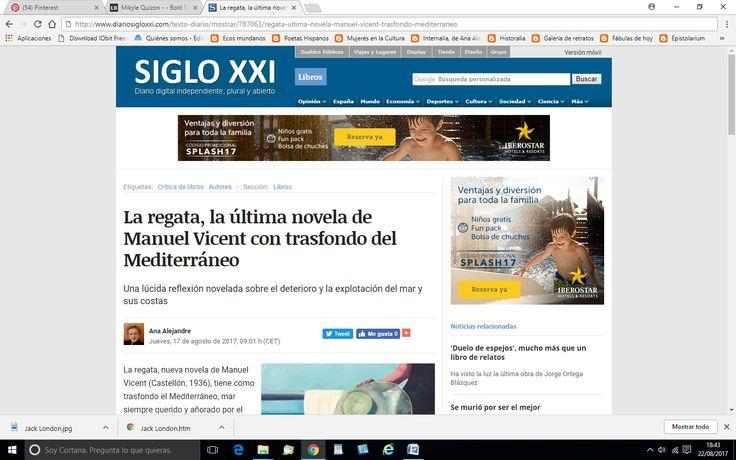 """Crítica de kla novela """"La regata"""" de Manuel vicent que tiene como trasfondo el Mediterráneo y la degradación del mar y sus costas."""