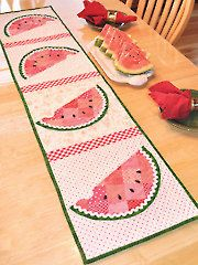 """Patchwork Watermelon Table Runner Pattern on Annie's is just great for the summer! This would be a fun """"teach your kids to sew project""""!"""