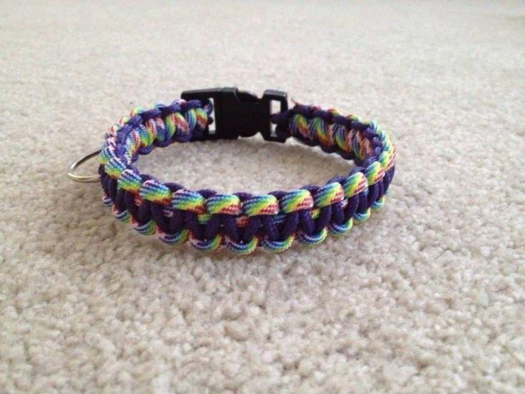 Paracord Dog collar Rainbow and Purple