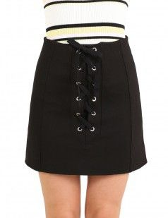 Black front lace up A line mini skirt