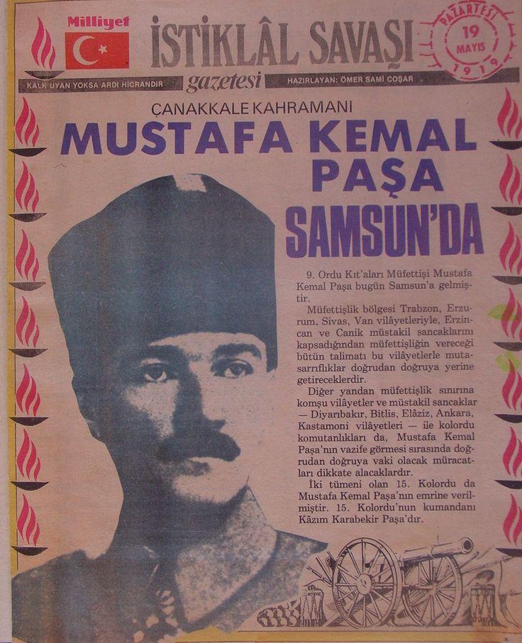 19.Mayıs.1919 günlü gazete,manşetin sol tarafında , UYAN TÜRKİYE , YOKSA ARDI HİCRANDIR yazıyor.