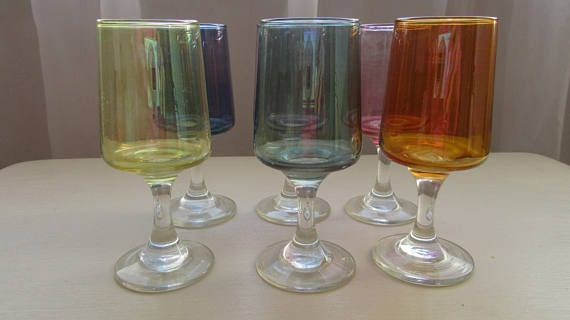 1970 Glasses. Retro Colourful Glasses. Six Coloured Glasses.