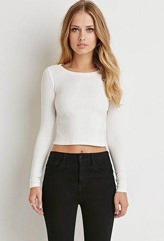 Buy it now. FOREVER21 Women's Cream Ribbed Knit Crop Top. STYLE Style Deals - A crop top in a lightweight ribbed knit with long sleeves and a round neckline.95% cotton, 5% spandexHand wash coldMade in VietnamFIT Measured from Small16.5%22 full length, 32%22 chest, 29%22 waist, 23.5%22 sleeve length , topcorto, croptops, croptops, croptop, topcrop, topscrops, cropped, bailarina, topbailarina, corto, camisolacorta, topcortoestilobandeau, crop, bralet, strappybralet, bandeautop. Beige…