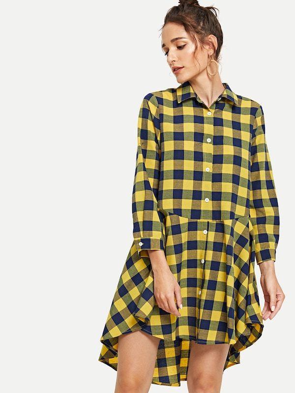 a68a57cdb9 Plaid Print High Low Shirt Dress -SheIn(Sheinside) | Dream Fashion ...