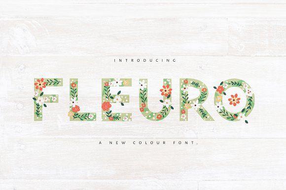 NEW! FLEURO Colour Font :) by Nicky Laatz on @creativemarket