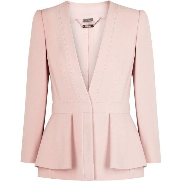Womens Evening Jackets Alexander McQueen Soft Pink Peplum Crepe Jacket (133.845 RUB) ❤ liked on Polyvore featuring outerwear, jackets, alexander mcqueen jacket, special occasion jackets, evening jacket, pink jacket and crepe jacket