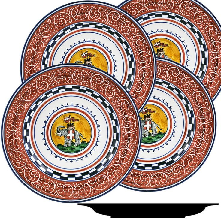 PALIO DI SIENA: TORRE (Tower Elephant) Dinner Plate SET of four (11D)