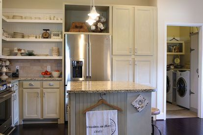 chalk painted kitchen cabinets, chalk paint, doors, home decor, kitchen cabinets, kitchen design, This is the open shelving we added to the upper corner of our kitchen
