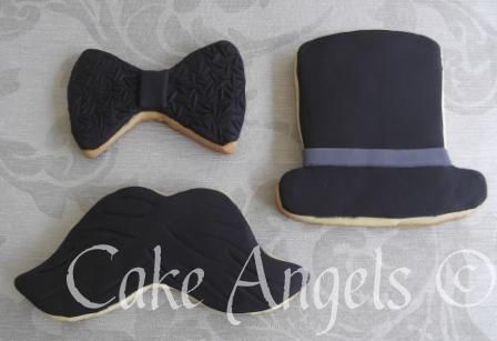 Bow Tie Cookies, Moustache Cookie, Top Hat Cookie