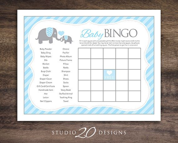 Blue Elephant Baby Shower Games, Printable Bingo Cards for Baby ...
