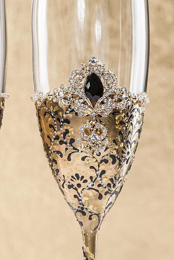 Gold Blak Wedding Champagne Glasses Black Wedding Glasses