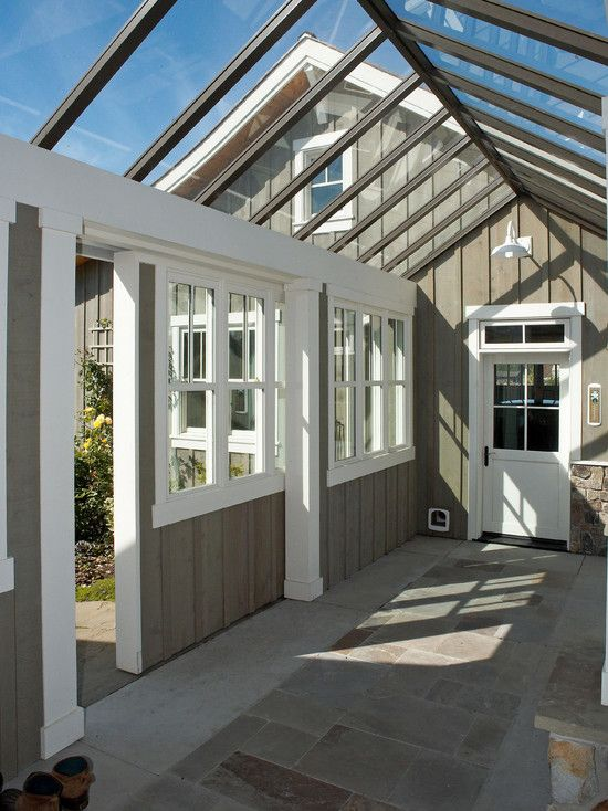 Attached + Greenhouse Design, Pictures, Remodel, Decor and Ideas - interesting thought for a herb garden and attaching a detached garage to the house...?