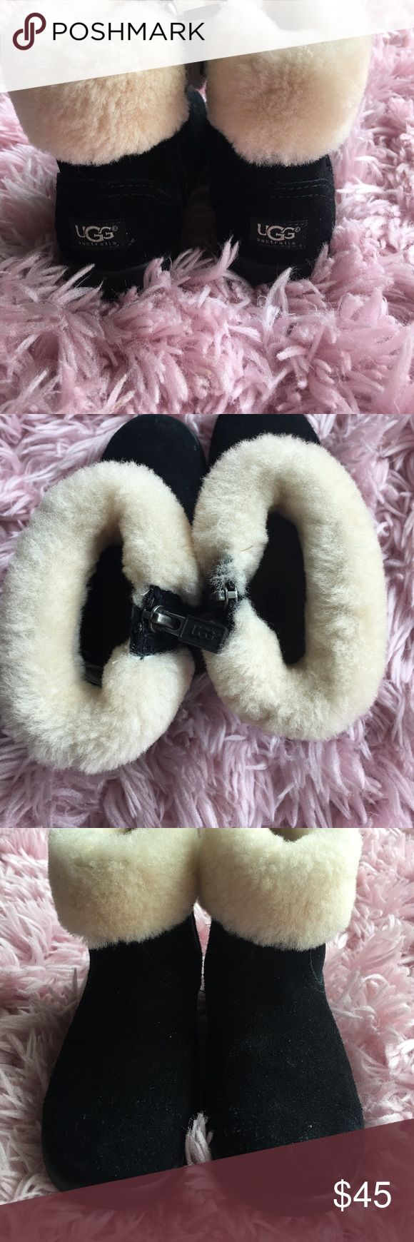 Kids UGG Boots Authentic 8.5 toddler girls shoes AUTHENTIC toddler girls UGG boots size 8.5 black with fur. Great used condition UGG Shoes Boots