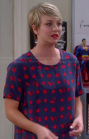 Penny's blue and red heart, cherry and flower print top on The Big Bang Theory.  Outfit Details: http://wornontv.net/37392/ #TheBigBangTheory /  'Riley' Top in Peacoat/Strawberry Red by Equipment