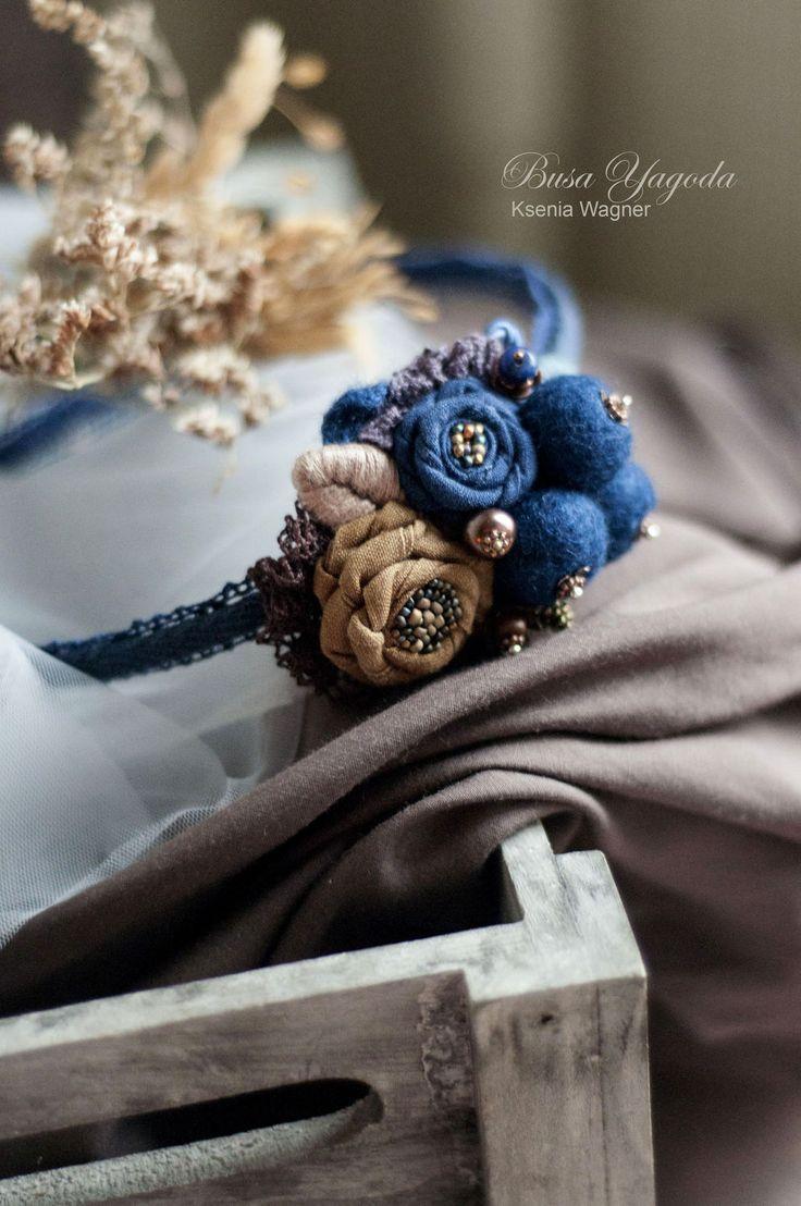 """Купить Ободок """"Черничные ягоды"""" - темно-синий, синий ободок, ободок для волос, ободок с ягодами"""