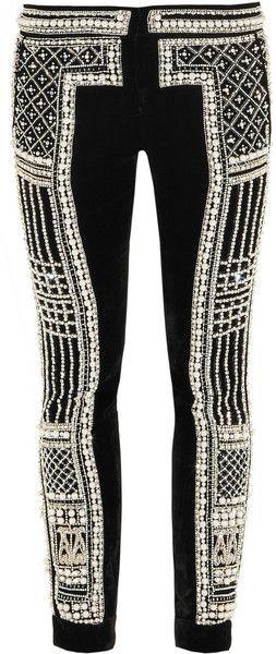 BALMAIN PARIS Embellished Velvet Pants - Lyst