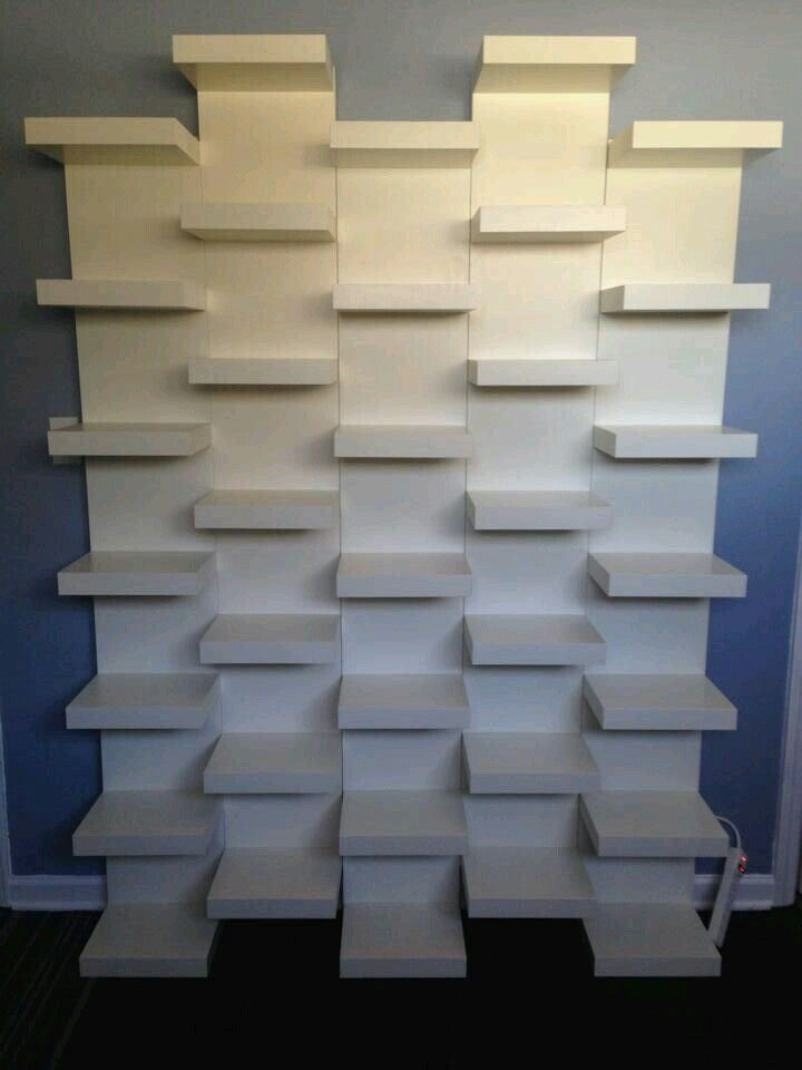 move the IKEA shelves together vertically and offset! brilliant!