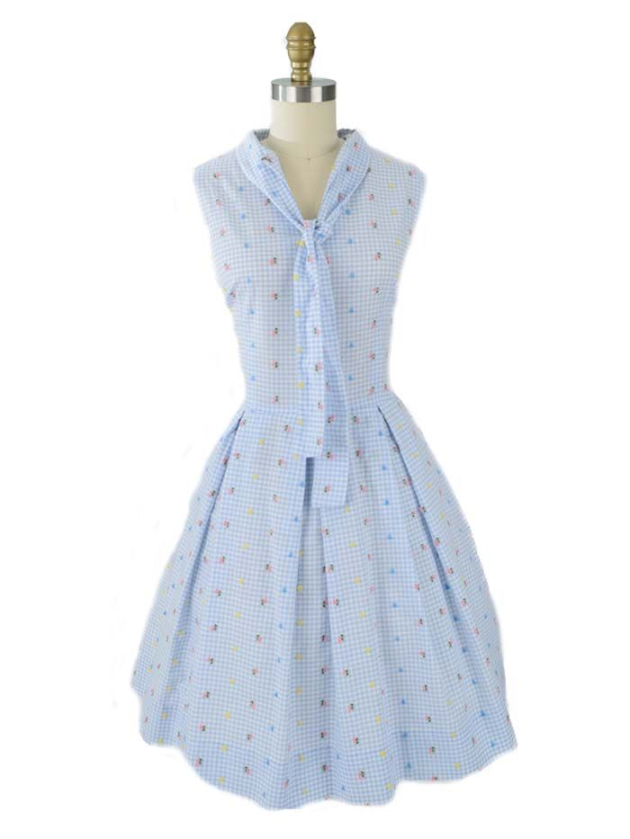 Adorable vintage dress for summer. Light blue and white check with all over tiny embroidered flowers. So girly! Tie at neck, full skirt with pleats at waist.