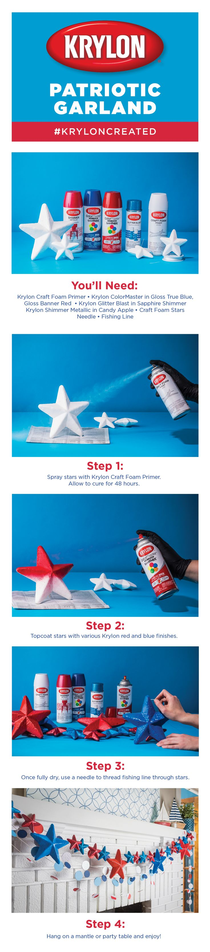 There is no better way to celebrate the USA than with red, white, and blue stars!  Decorate a party table or mantle for the 4th of July by hanging spray painted star garland created with Krylon Craft Foam Primer, Krylon ColorMaster in Gloss True Blue and Gloss Banner Red, Krylon Shimmer Metallic in Candy Apple, and Krylon Glitter Blast in Sapphire Shimmer!  Click the link to make your own!