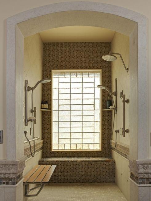 doorless shower  arch master bathroom pinterest  love shower heads   ojays