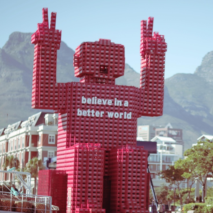 Coke crate man at the V & A Waterfront