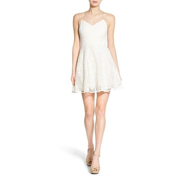 Soloiste Lace Skater Dress (€105) ❤ liked on Polyvore featuring dresses, white, white v neck dress, floral dress, lace dress, skater dress and white sleeveless dress