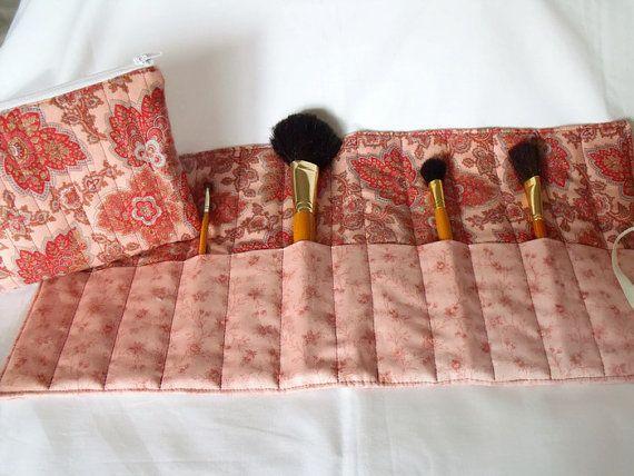 pink make up gift set make up brush holder by FingerPrickingGood