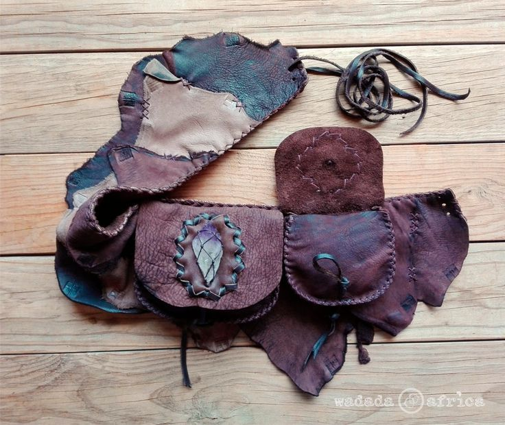 Ready to Ship // Handmade Upcycled Deerskin Leather Unisex 2 Pocket Lace-up Utility Belt with Amethyst Crystal Point by WadadaAfrica on Etsy