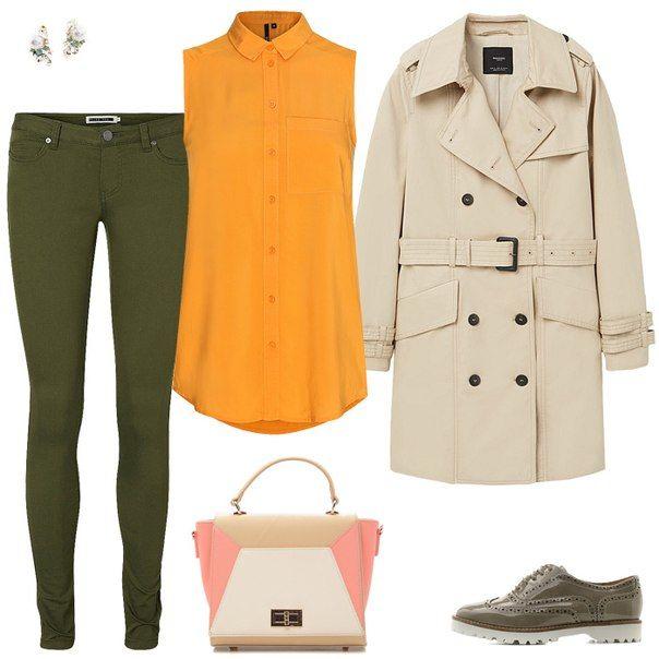 Болотная куртка, оранжевый топ от платья, бежевая юбка, бежевые туфли