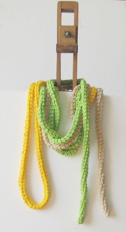 Zesty skinny scarf extra long necklace spring by theYarnKitchen. via Etsy.
