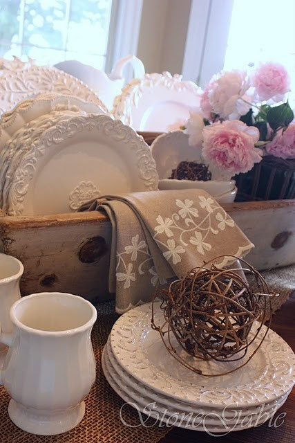 dishes: Table Settings, Idea, Stonegable, Kitchen Tables, Shabby Chic, Farm Tables, White Dishes, Table Vignette