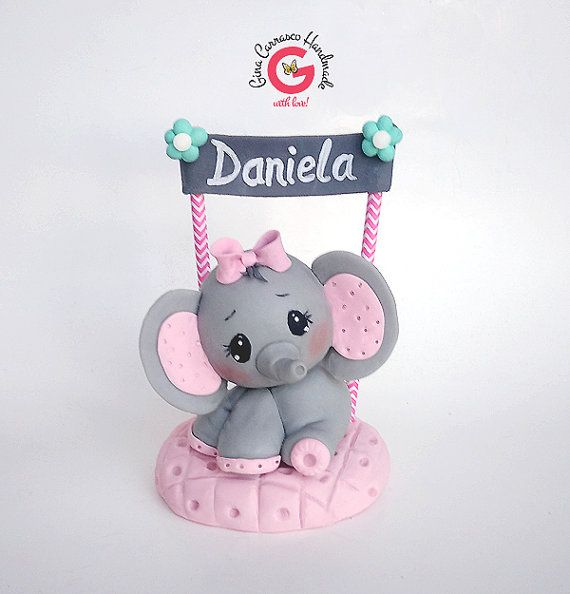 Elephant Cake topper baby shower cake by GinaCarrascoHandmade