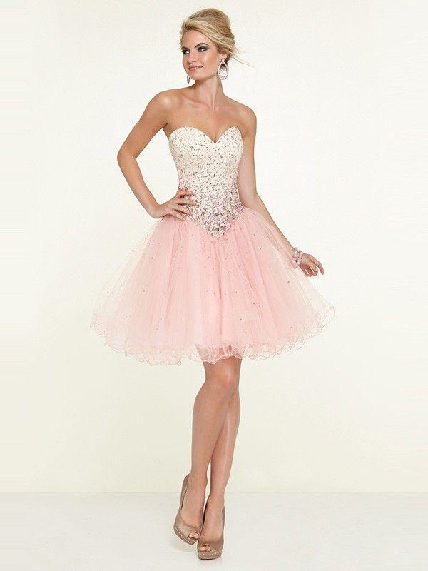 A-Line/Princess Sleeveless Tulle Sweetheart Ruffles Short/Mini Dresses