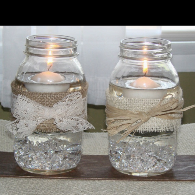 burlap and lace mason jars I like the lace bow.