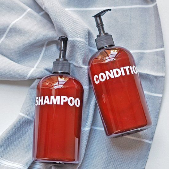 These DIY shampoo bottles are a cost-effective way to dress up and standardize your shower.  They also make great gifts!