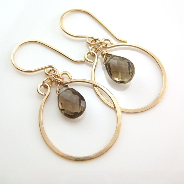 Smoky Quartz Chandelier Earrings 14k Gold Fill Gemstone Dangle Handmade. $37.00, via Etsy.: 14K Gold, Gemstone Dangle, Smoky Quartz, Chandelier Earrings, Earrings 14K, Dangle Earrings, Smokey Quartz