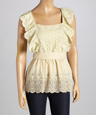 Love this Beige Eyelet Scoop Neck Tunic on #zulily! #zulilyfinds  {{bet you could make something like this with a curtain}}