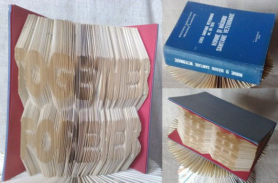 Folded book - Together Forever - Finished product - FREE Shipping - folded book art, origami, gift #bookfolding #bookfoldingpattern #foldedbookart #booksculpture #papersculpturebook #origamibook #weddinggift #weddinganniversary #birthdaygift #patterntutorial #recycledbook #homedecor #craft #gift #love #together by #PatternsStore