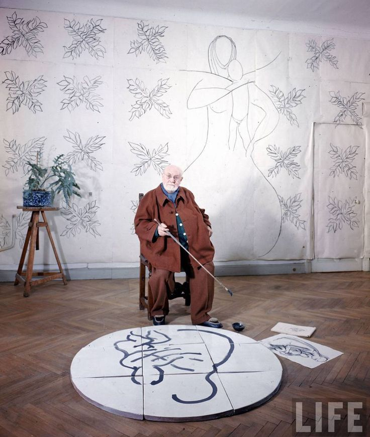 """Henri Matisse in his studio working with a sketch of """"The Virgin and Child""""for his chapel at Vence. France,1950.  Photo by Dmitri Kessel  © Time Inc."""