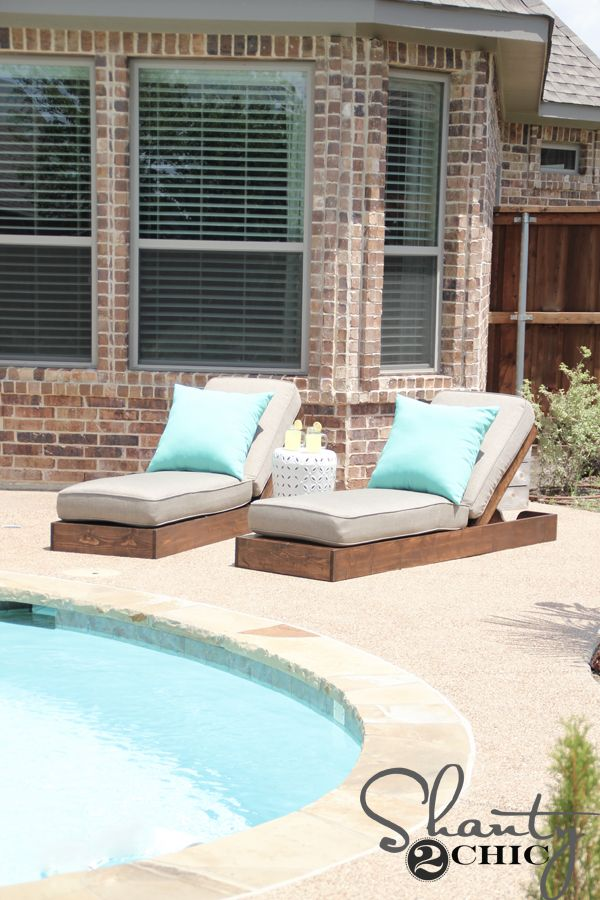 DIY Outdoor Lounge Chairs: Free plans! Beautiful, sophisticated, modern and classy all at the same time! Built from scratch by Shanty 2 Chic! Just as the Shanty Sisters did, don't forget to finish your outdoor stain projects off with this: http://www.rustoleum.com/product-catalog/consumer-brands/wood-care/ultimate-spar-varnish/ to keep them looking great and help protect them from the elements!
