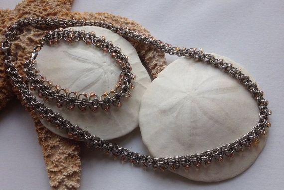 Spring Shimmer Bracelet and Necklace Set by JewelrybySacredArt, $80.00