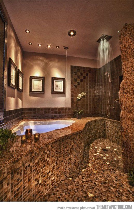 I would love this bathroom!!! Step out the tub into the shower