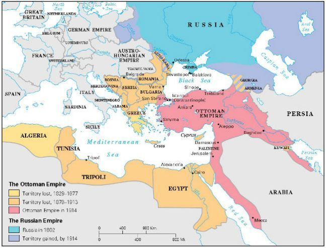 Maps of Ottoman Empire provided with history information and sage facts.