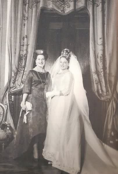 Princess Diane, Duchess of Württemberg (née Princess Diane Françoise Maria da Gloria of Orléans) on her wedding day