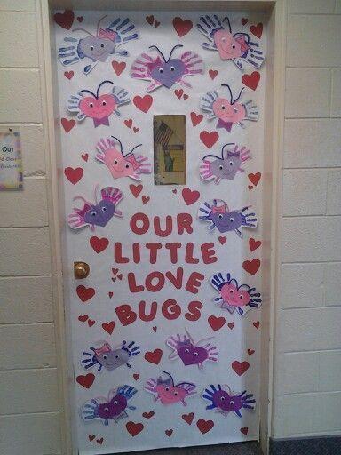 Valentine day door.   classroom