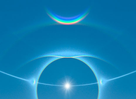 """Halos, caused by the combined glints of billions of ice crystals, are more common than you think. A halo can be seen 100 times a year. Next time the sun is shining hold up your hand to cover the sun and you may see a ring-like halo, or a pair of sun dogs. If you see the sun dogs also check overhead to see if the upside-down rainbow-smile called a """"circumzenithal arc"""" is visible. This image is a computer simulation of some of the halos and other arcs."""